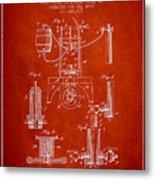 1890 Bottling Machine Patent - Red Metal Print