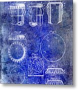 1892 Bottle Cap Patent Blue Metal Print