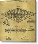 1896 Chess Set Patent Metal Print