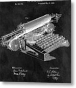 1896 Typewriter Patent Illustration Metal Print