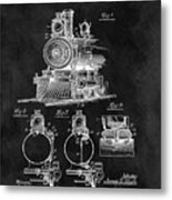1898 Locomotive Headlight Patent Metal Print