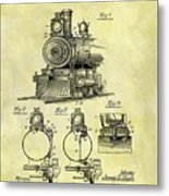 1898 Locomotive Patent Metal Print