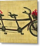 18x36 Premium Gallery Tandem Bicycle Painting With Red Birds Red Flowers Metal Print