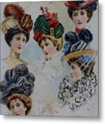 19 Century Ladies Hats The Delineator Early Autumn Hats Metal Print