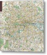 1900 Bacon Pocket Map Of London England  Metal Print