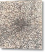 1900 Gall And Inglis' Map Of London And Environs Metal Print