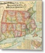 1900 National Publishing Railroad Map Of Connecticut Massachusetts And Rhode Island  Metal Print