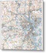 1900 Us Geological Survey Of Boston And Vicinity Massachusetts Metal Print