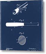 1902 Baseball Bat Patent In Blue Metal Print