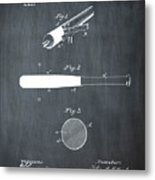 1902 Baseball Bat Patent In Chalk Metal Print
