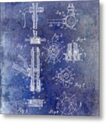 1903 Beer Tap Patent Blue Metal Print