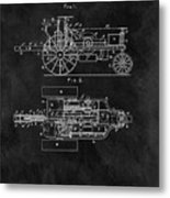1903 Tractor Blueprint Patent Metal Print