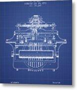 1903 Type Writing Machine Patent - Blueprint Metal Print