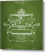 1903 Type Writing Machine Patent - Green Metal Print