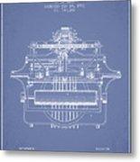 1903 Type Writing Machine Patent - Light Blue Metal Print