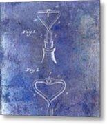 1909 Cork Extractor Patent Blue Metal Print