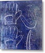 1910 Baseball Glove Patent Blue Metal Print