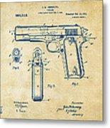 1911 Colt 45 Browning Firearm Patent Artwork Vintage Metal Print