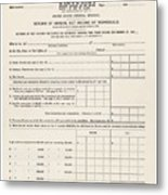 1913 Federal Income Tax 1040 Form. The Metal Print