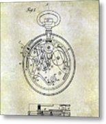 1913 Pocket Watch Patent Metal Print