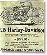 1915 Harley Davidson Advertisement Metal Print