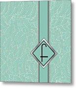 1920s Blue Deco Jazz Swing Monogram ...letter F Metal Print