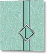 1920s Blue Deco Jazz Swing Monogram ...letter L Metal Print