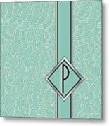 1920s Blue Deco Jazz Swing Monogram ...letter P Metal Print