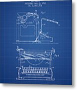 1923 Typewriter Screen Patent - Blueprint Metal Print