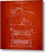 1923 Typewriter Screen Patent - Red Metal Print