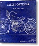 1928 Harley Davidson Patent Drawing Blue Metal Print