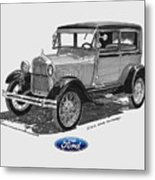 1928 Model A Ford 2 Dr Sedan Metal Print by Jack Pumphrey