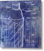 1930 Cocktail Shaker Patent Blue Metal Print