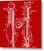 1930 Gas Pump Patent In Red Metal Print