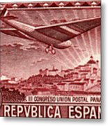 1931 Airplane Over Madrid Spain Stamp Metal Print