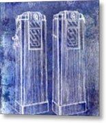 1936 Gas Pump Patent Blue Metal Print