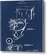 1936 Toilet Bowl Patent Blue Metal Print
