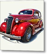 1937 Red Chevy Master Deluxe Metal Print by Mamie Thornbrue