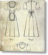 1940 Waitress Uniform Patent Metal Print