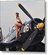 1940s Style Navy Pin-up Girl Sitting Metal Print