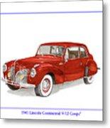 1941 Mk I Lincoln Continental Metal Print