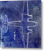 1945 Transport Airplane Patent Blue Metal Print