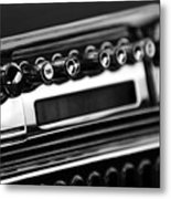 1947 Cadillac Radio Black And White Metal Print