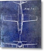 1949 Airplane Patent Drawing Blue Metal Print