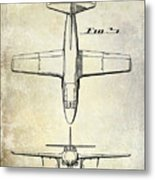 1949 Airplane Patent Drawing Metal Print