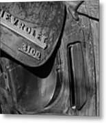 1950 Chevrolet Truck Emblem Black And White Metal Print