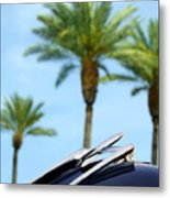 1950 Oldsmobile Rocket 88 Convertible Hood Ornament And Palms Metal Print