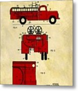 1950 Red Firetruck Patent Metal Print