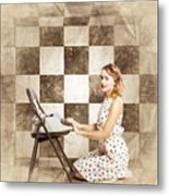 1950s Fictional Pinup Writer Metal Print