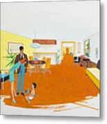 1950's Motel Room Retro Artwork Metal Print